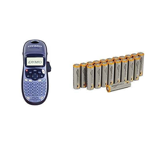Dymo S0883990 LetraTag LT-100H Etikettendrucker Handgerät, blau mit Amazon Basics Batterien