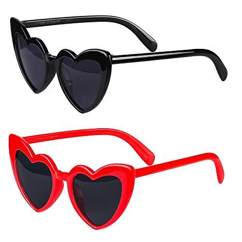 Haichen Gafas de sol en forma de corazón Cat Eye Mod Style Gafas de sol de fiesta Gafas retro sin montura transparentes para mujeres y niñas (A)