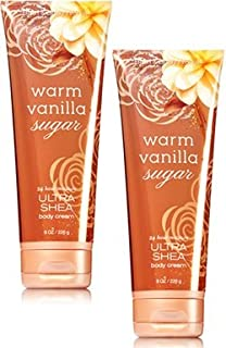 Bath and Body Works 2 Pack Warm Vanilla Sugar Ultra Shea Body Cream 8 Oz.
