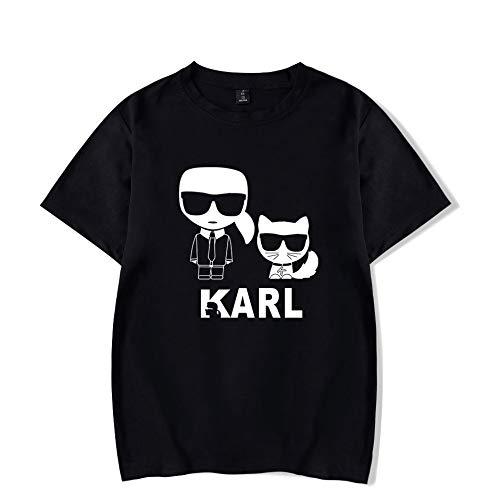T-Shirt Mode Karl Lagerfeld Drucken Kurze Ärmel T-Stück Beiläufig Lose Trikot Unisex/Schwarz/L