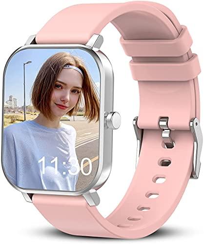 Relojes inteligentes adecuados para la mayoría de teléfonos móviles, reloj inteligente con pantalla táctil completa de 1.7 pulgadas con monitor de frecuencia cardíaca, rastreador de sueño