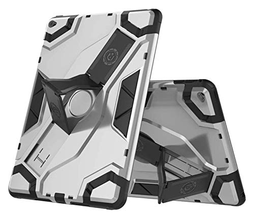 LYB Tablet Cases for IPad Air 2 2014 Release, Heavy Duty Hybrid Armor Defender Shockproof Tablet Case with Foldable Stand Hand Strap Protective Cover (Color : Silver)