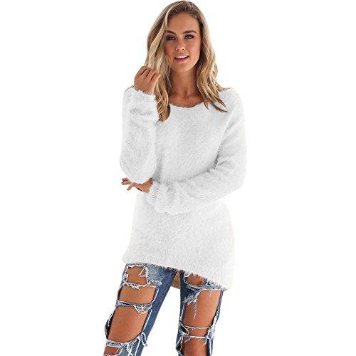 Pull Femme Hiver Pas Cher A La Mode Chaud Tunique LâChe Solide Tops Chemisier Pin Up Couleur Unie À Manches Longue Peluche Sweater (L, Blanc)