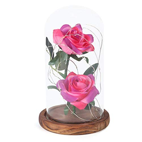 HGG glazen glazen kunstige decoratie roze kerstdecoratie kantoor geschenk Valentijnsdag geschenk kunstbloem