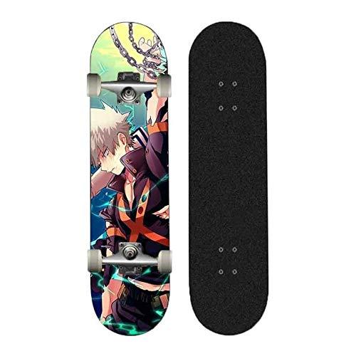 FWAHB Anime Skateboard Bakugou Katsuki, Vier-Rad-Straße Skateboardfahren, Erwachsene Straße, Außenextremsport Brett, 7-Schicht-Cruiser Doppel Kick-Deck, Feiertags-Geschenk