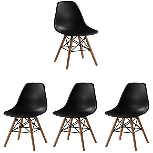Juego de 4 sillas de Comedor de Estilo Moderno de Mediados de Siglo Silla Moderna de plástico y Madera Maciza para cómodas sillas de Desayuno Acolchadas para la Cocina (Negro)