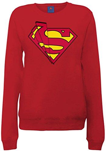 DC Comics DC Comics Official Superman Shards Logo Womens Sweatshirt, Sudadera Mujer, Cherry Red, Medium