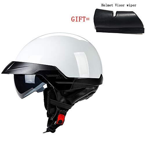 A-TSWB Juventud Casco Medio Casco de Motocicleta Certificado por el Dot Casco de Calle Casco de Regalo Visor Limpiaparabrisas para su Seguridad (Blanco),A,L