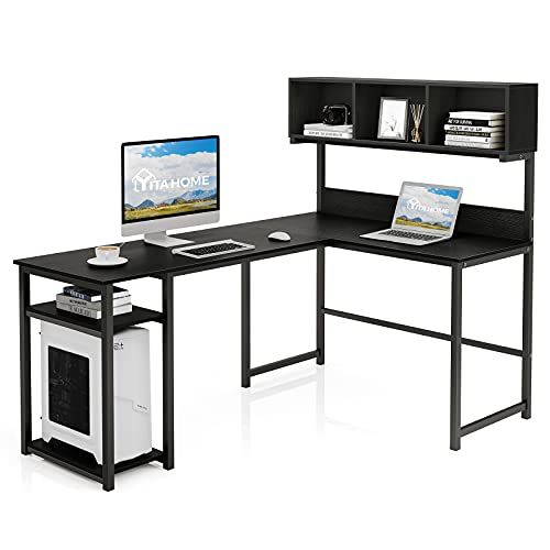 YITAHOME L Shaped Desk with Hutch, 69 Inches Large Corner Computer Desk with Shelves Storage, Home Office Gaming Table Desk, Classic Black