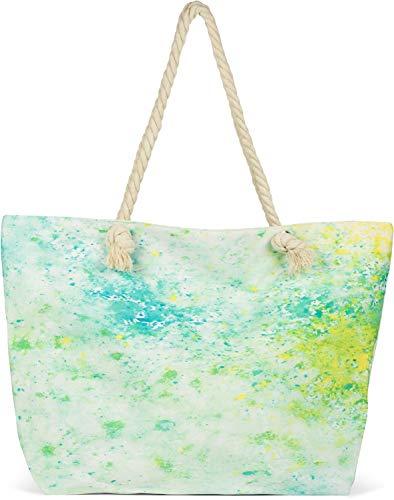 styleBREAKER Damen XXL Strandtasche mit buntem Pouring Flecken Print, Reißverschluss, Schultertasche, Shopper 02012345, Farbe:Grün-Gelb-Blau