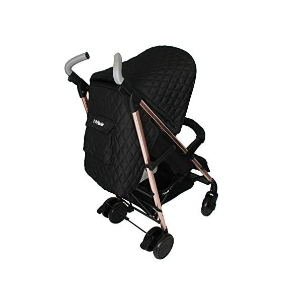 My Babiie Faiers MB51 Rose Gold Black Quilted Stroller MB51QG My Babiie Meet the My Babiie Billie Faiers MB51 Rose Gold Black Quilted Stroller with its stylish rose gold frame and luxurious black quilted fabrics. Stylish ultra-modern stroller, stunning complimentary colour handles, height adjustable handles, Lightweight & strong aluminium chassis, easy fold technology, lockable front swivel wheels, side carry handle, compact fold Hood includes storage pocket, full recline (suitable from birth), padded 5 point safety harness, small to store when folded 3