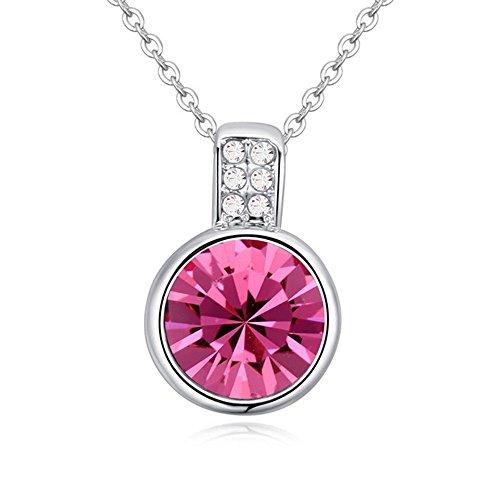 Bungsa Kette Pink Pebble 45cm Silberfarben - Runder Silberner Anhänger mit strahlendem Kristall in Fuchsia & klarem Strass Besetzt - Frauen...