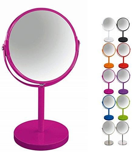 Spirella Schminkspiegel Kosmetikspiegel Standspiegel Badezimmerspiegel 'Sydney' 2-Fach Vergrößerung - Ø 17cm - Pink