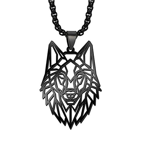 HJURTB Collar de Acero Inoxidable con Forma de mi Lobo Animal Bosque Hombres Collares Caja de Cadena de Corte Hueco Gargantilla Colgante Regalo de joyería para Hombre