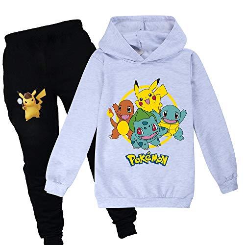 Proxiceen Pikachu Pokemon - Sudadera con capucha y pantalón para niño y niña, impresión digital 3D, diseño de anime Cosplay A6. 150 cm