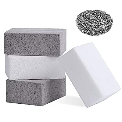 Grill Cleaning Brick Block,Grill Brick for Flat Top Grills and Griddles,Non-Toxic Odorless Grill Stones Cleaner-Remove Greases Stains Residues Dirt (4 Pack,White+Gray)