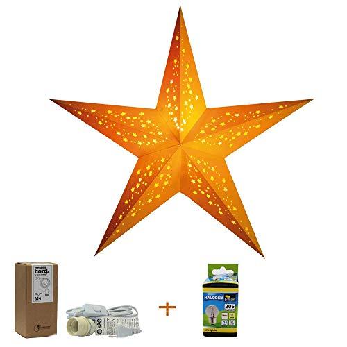 Papierstern Mia mit Zubehör, Kabel Weiss, Weihnachtsstern Deko Lampe, Fensterdeko Wohndeko, Faltstern Geschenkidee (mia Yellow)