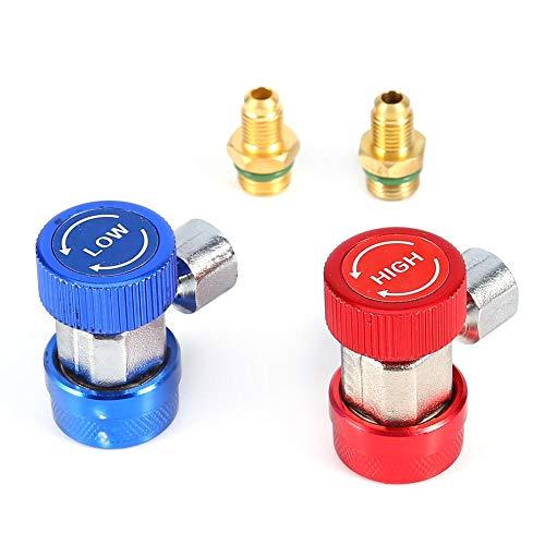 Raccordi adattatore 134A, Freon 2x R134A AC Aria condizionata può toccare Attacco rapido regolabile Connettore adattatore alto basso Gas ricarica refrigerante