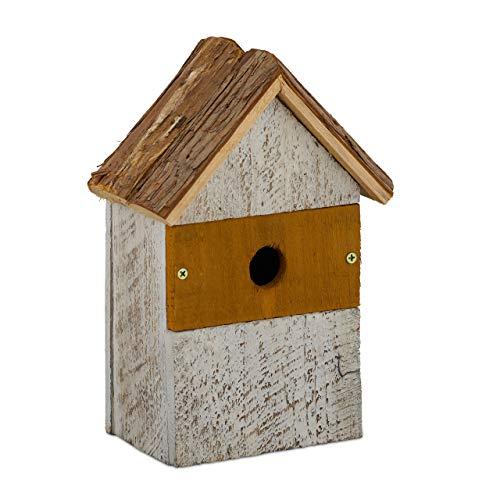 Relaxdays Vogelhaus, aus Holz, Vogelhäuschen zum Aufhängen, Deko-Vogelvilla Garten, HBT: 26,5x18x12 cm, Natur/weiß