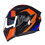 OUTO Casco Moto Four Seasons Full-Cover Personality Anti-Fog Casco Integrale Casco Moto Estivo (Color : Black Hungry Wolf)