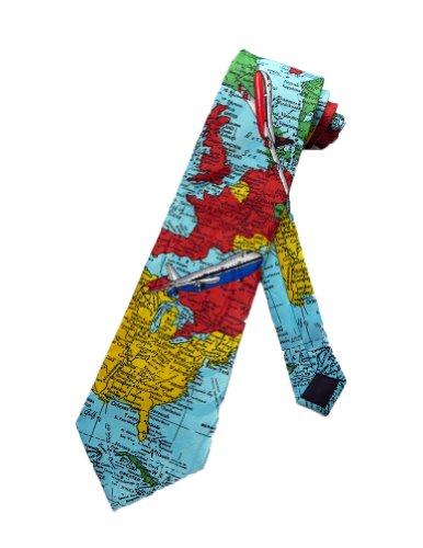 Steven Harris Cravate carte du monde - bleu clair- taille unique