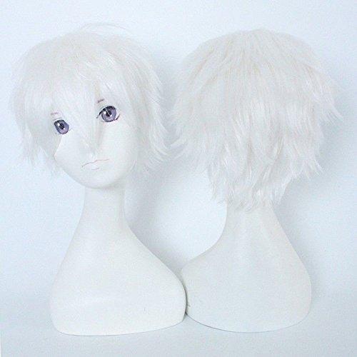 30CM Anime Cosplay Curly Hair Tail Volle Perücken Kurze Perücke Frauen Männer Perücke Wig Kostüm Party Halloween Weiß