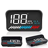 Universal Head-up Display, Windshield Projector, Support OBD2, GPS Dual System HUD Compatible with All car Models, can Display Vehicle Speed, Rotation Speed, Mileage, Water Temperature, Voltage