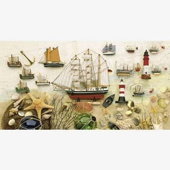 Puzzlekarte Glückwunschkarte aus Puzzleteilen Schiffe Muscheln Sand Urlaub Ferien