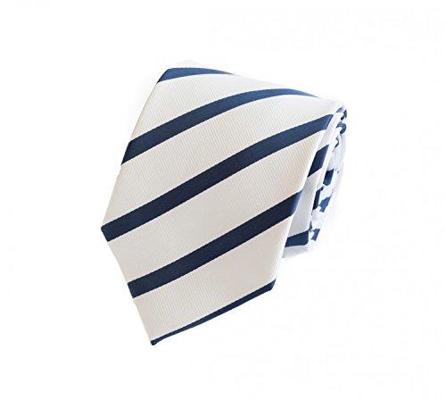 Fabio Farini Elegante, witblauw gestreepte stropdas van 8 cm, voor vrijgezellenfeest