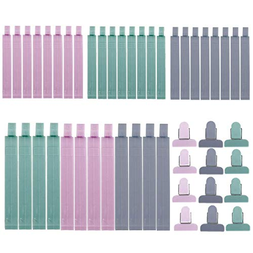 WENTS Tütenclips Dichtungsclips Verschlussclips Verschlussklemmen Kunststoff Verschließen Tüte Clips Plastikbeutel Klemmen für Lebensmittel und Snacks Lagerung 3 Größen 48pcs