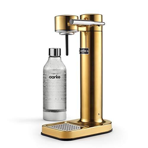 Aarke Carbonator II Wassersprudler (Edelstahl Gehäuse, Soda Sprudelwasser, inkl. PET-Flasche, kompatibel mit CO2 Sodastream Zylindern) Messing