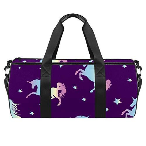 Unicorn Silhouette - Borsone cilindrico da viaggio con tasca bagnata, leggera, da viaggio, con tracolla per uomo e donna