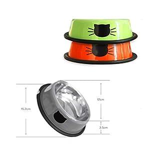 Bowl stainless steel skid pet feeding drinking cat bowl dog bowl pet supplies (Color : Orange) 14