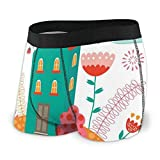 Web--ster Calzoncillos Boxer para Hombres, Moderno apartamento con Coloridas Flores florecientes Flying Birds and Clouds Talla XL