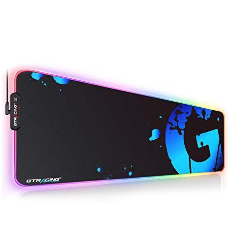 Gtracing ゲーミングマウスパッド 大型 マウスパッドマ デスクマット ウスパッド大型 光るマウスパッド ゲーミング かっこいい 大型 キーボードパッド 光学式 防水 ズレない RGB ブルー GT888-BLUE