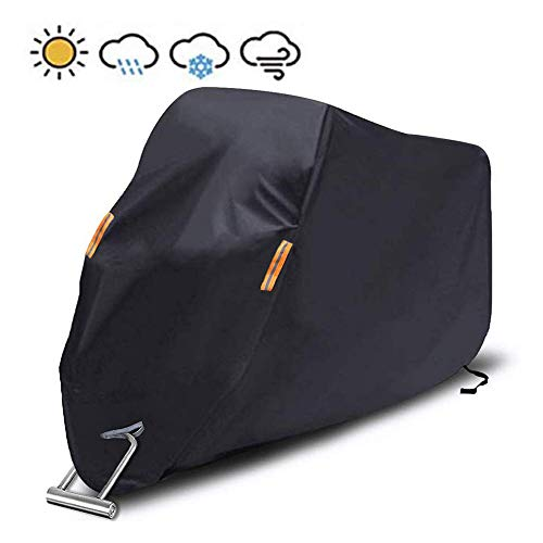 """Motorcycle Cover Waterproof/Dustproof/Snowproof/UV Protection Motorcycle Covers 5 Layer Breathable Fabric fit for Most Types (Motorcycle-L UP to 96"""")"""