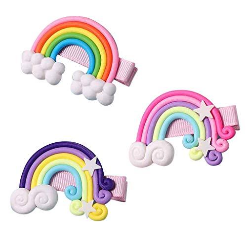 WEXCV 3 Stücke Baby Mädchen Haarklammer, Regenbogen Lutscher Wolken für Neugeborene Mode Haarschmuck Baby Mädchen Geschenk