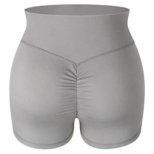 YYJDM-Pantalones Cortos de Cintura Alta para Mujeres, Leggings de Pantalones Cortos de Yoga, Pantalones Cortos de Yoga para Mujeres, Pantalones Cortos elásticos para Mujeres, Gris, S
