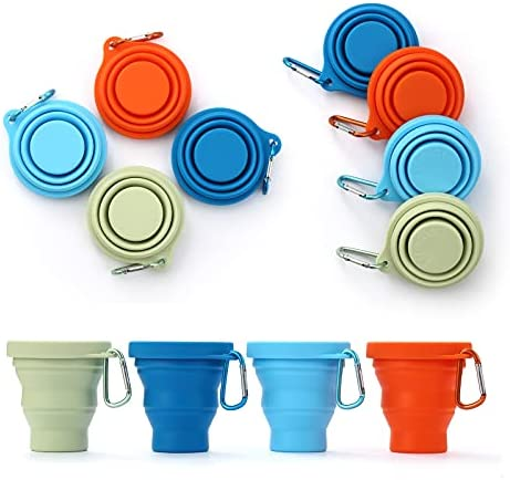 GUANCI Silicone Collapsible Cups 4Pack, Folding Travel Camping Cup with Lids,Colorful Expandable Drinking Cup Sets - Portable,Dishwasher Safe