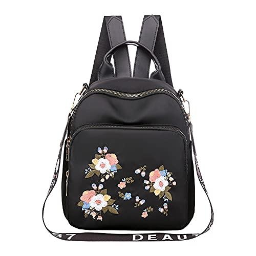 YIXIN Bolsas escolares para mujeres niñas moda Oxford tela bordado estudiante flor impresa mochila casual Daypack