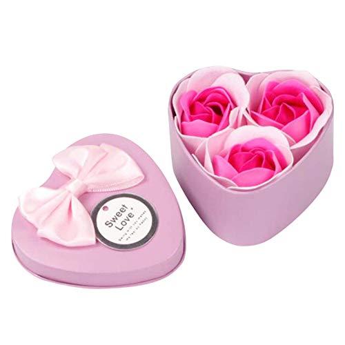 Katpost Fleur de savon Scented Soap Petals,Savon de bain,Savon de bain parfumé aux pétales de fleurs de rose,3 Pcs Coeur Parfumé Bain Corps Pétale Ros