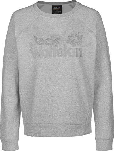 Jack Wolfskin Damen Logo Sweatshirt, Light Grey, XL