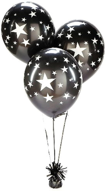 Black Sliver Stars Balloons (25 pc)