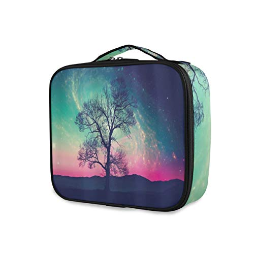 SUGARHE Galaxy Vibrant Stars Space Cosmic Lonely Tree Aurora Borealis,Sac cosmétique Multifonctionnel La beauté