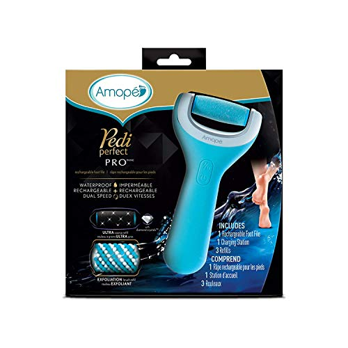 Amopé Pedi Perfect Wet & Dry Rechargeable Foot File, Regular Coarse