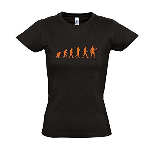 Damen T-Shirt - EVOLUTION - Tischtennis Sport FUN KULT SHIRT S-XXL , Deep black - orange , XL