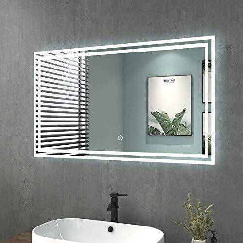 LED Badezimmerspiegel 100x60cm Badspiegel mit Beleuchtung Kaltweiß Lichtspiegel Wandspiegel mit Touchschalter IP44 Energiesparend