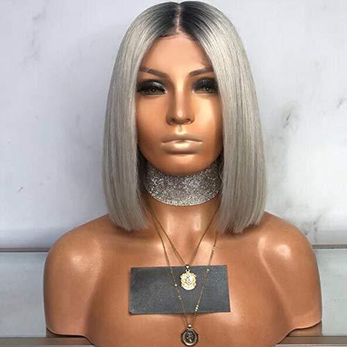 """ROYWY 20"""" Grey Perruque Courte Vrai Cheveux Humain Ombre Hair Wig Bob Wig Gris Middle Part Top Qualité Lace Bleached Knots Avec Délié Naturel Pas Cher"""
