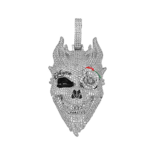 MLENS Hip Hop Iced Out Skull Head Pendant Chain Necklace 24K Gold or White Gold Plated Bling Lab Diamond Paved Rose Flower Eye Demon Necklaces with Rope Chain Jewelry Gift for Men (White Gold)