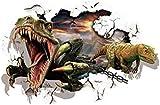 WARMBERL Jurassic World Animal Dinosaur Broken Wall Wall Decal Enter Kids Room Vinilo Adhesivos De Pared Decoración Del Hogar Papel Pintado Divertido De La Historieta